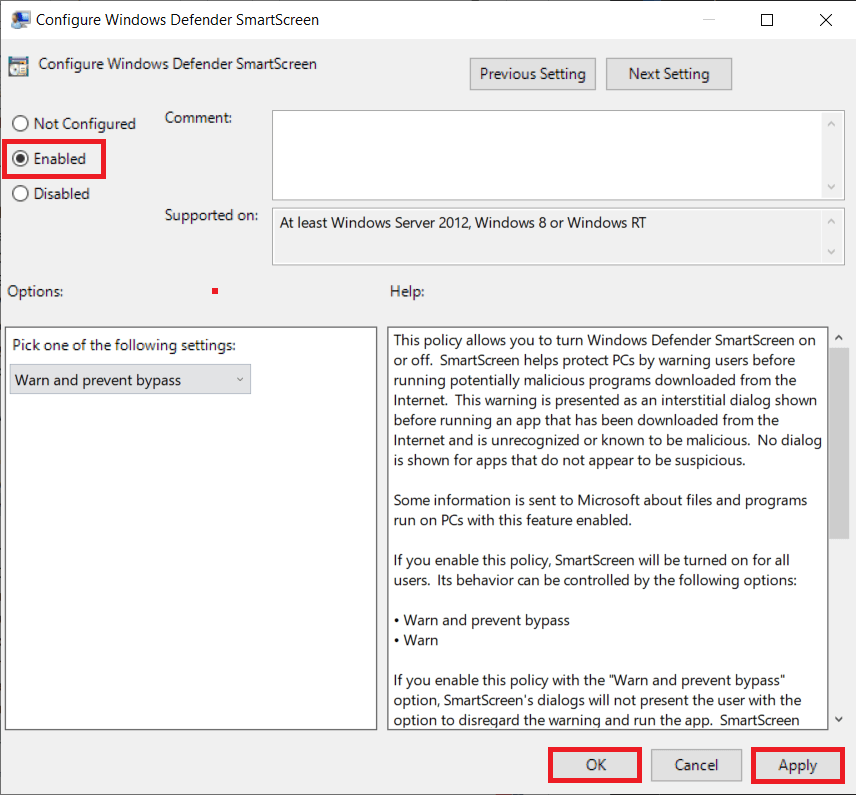 ensure Enabled is selected. Click on Apply to save changes and then Ok to exit.