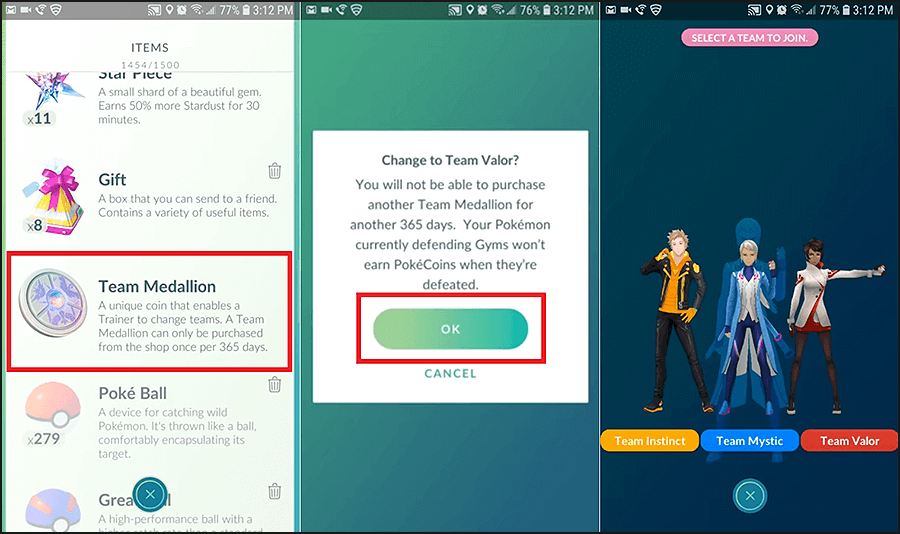 exit the shop by tapping on the small cross button at the bottom | Change Pokémon Go Team