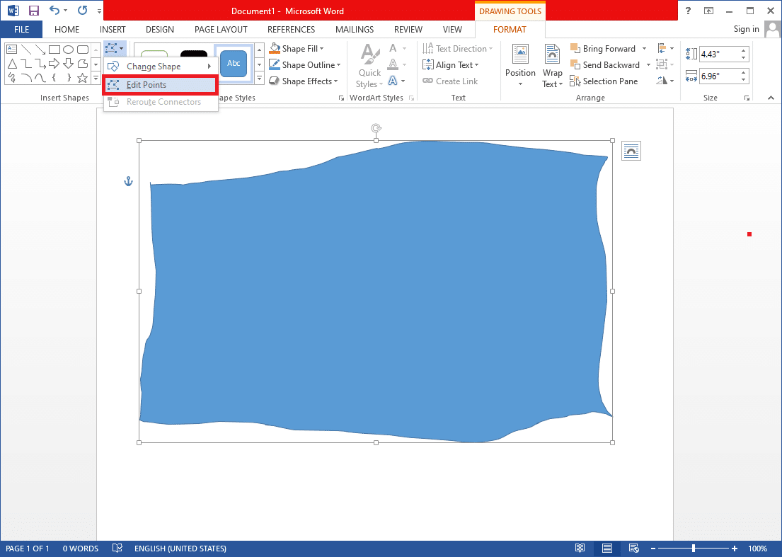 expand the Edit Shape option and select Edit Points. | Draw in Microsoft Word