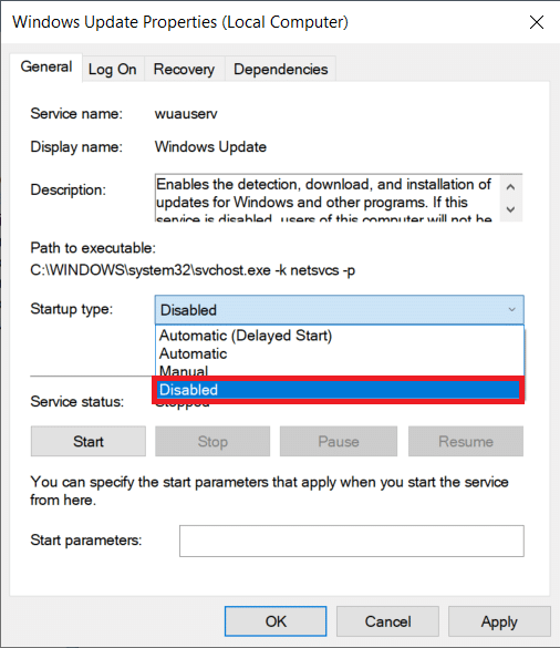 expand the Startup type drop-down list and select Disabled. | Stop Automatic Updates on Windows 10
