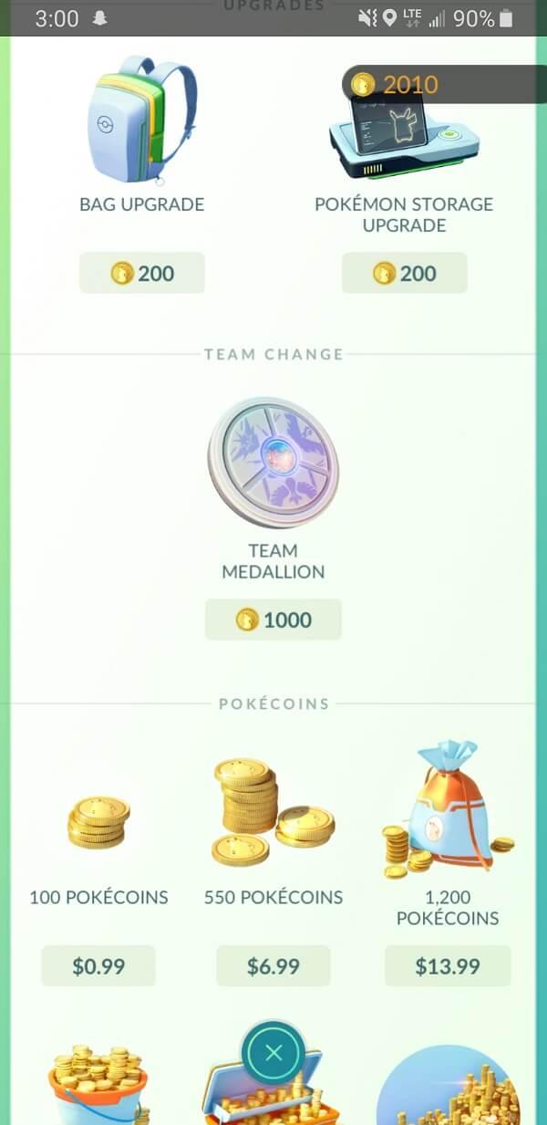 find a Team Medallion in the Team Change section | Change Pokémon Go Team