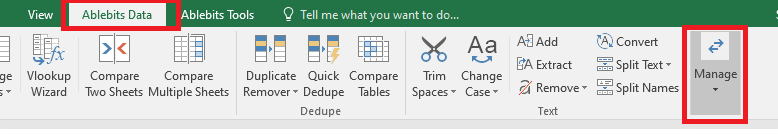 go to the 'Ablebits data' tab and click on 'Manage.' | swap columns or rows in Excel