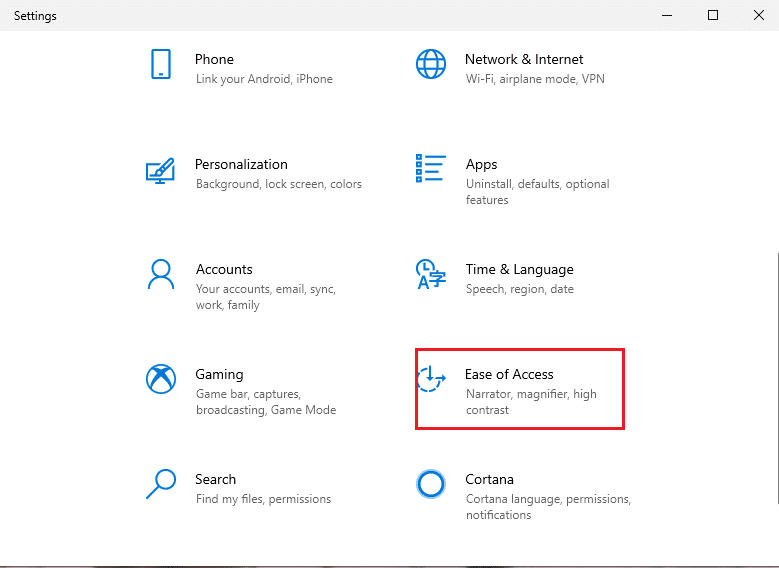 go to the 'Ease of access' section from the list of options. | Fix black desktop background in Windows 10
