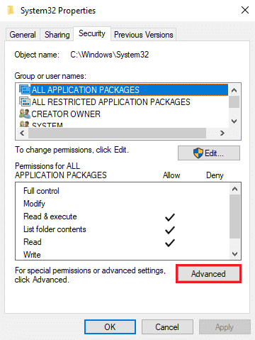 go to the Security tab and click on 'Advanced' | How To Delete System32?