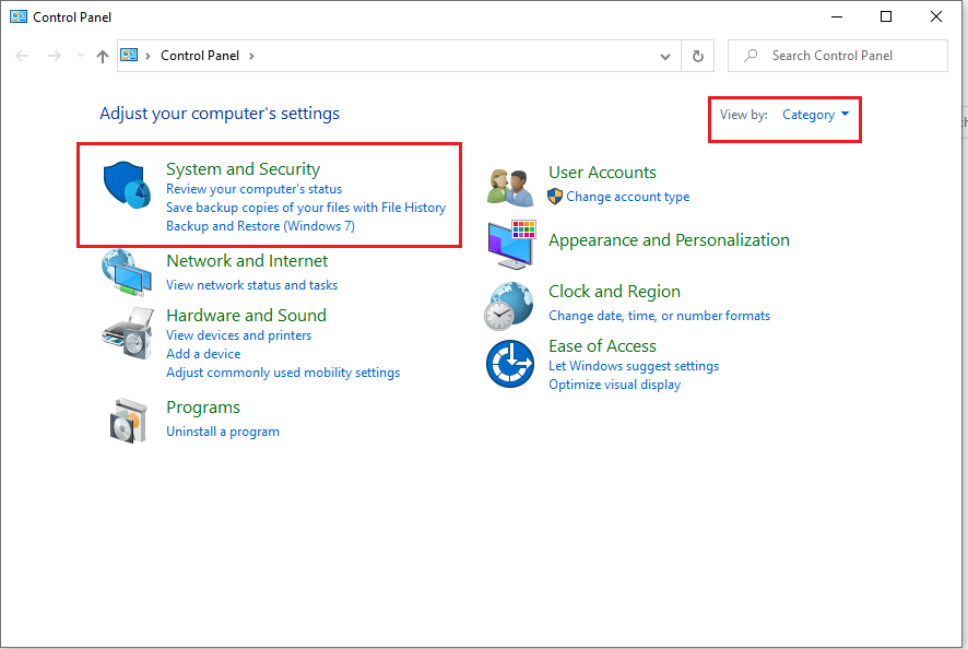 go to the 'system and security' section