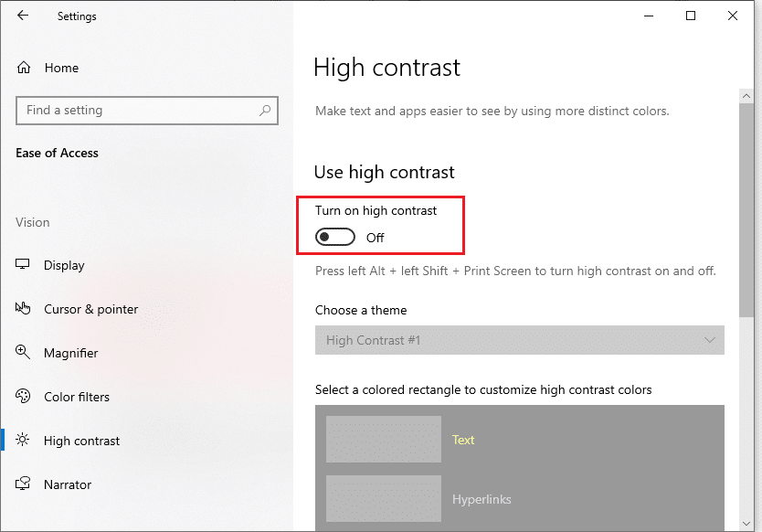 Disable High contrast to Fix black desktop background in Windows 10