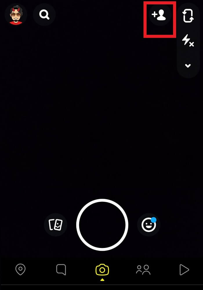 open the Snapchat app on your device and tap on the Add Friends icon | Find Someone on Snapchat Without Username or Number