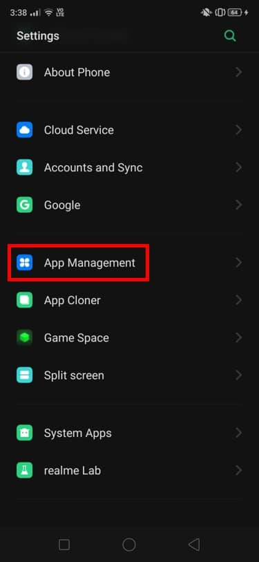 reach the App Management section in the settings   Fix Snapchat Camera Black Screen Issue