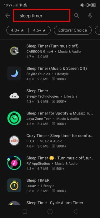 search 'Sleep Timer' in the Play Store | Automatically Turn Off Music On Android