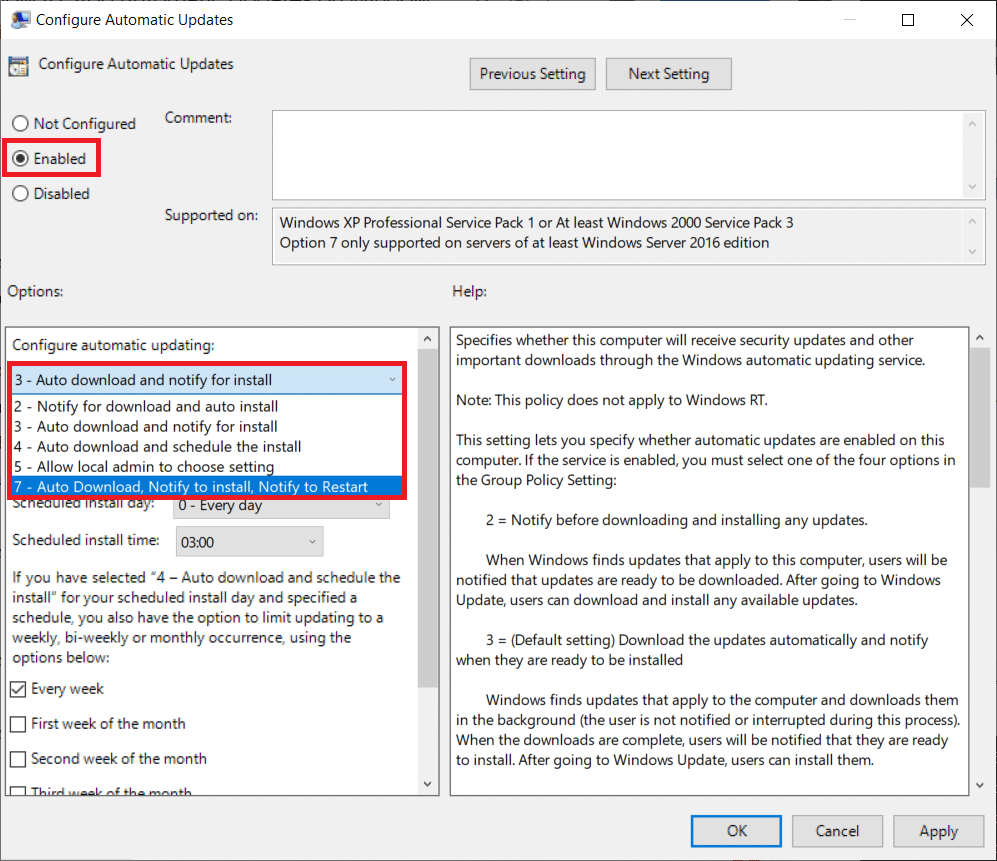 select Enabled first. Next, in the Options section, expand the Configure automatic updating drop-down list and choose your preferred setting.