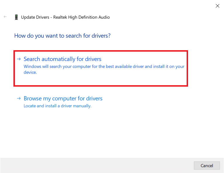 select Search Automatically for drivers. | Enable Stereo Mix on Windows 10
