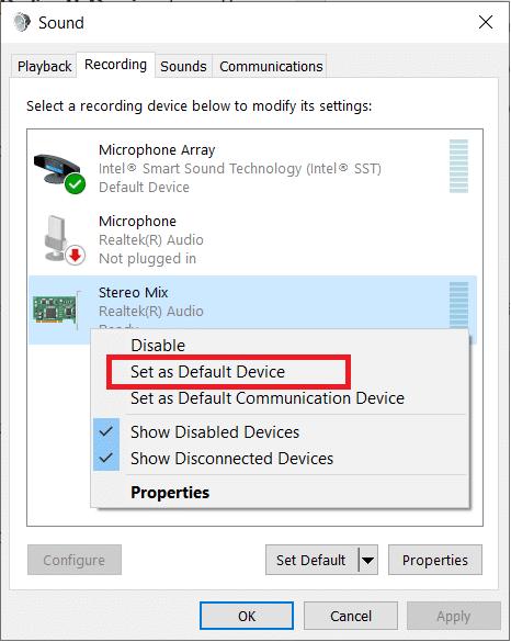 select Set as Default Device
