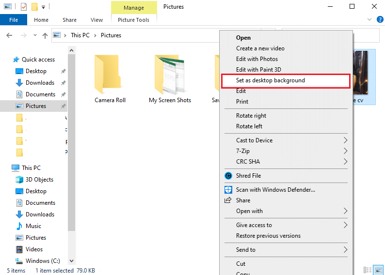 select the option of 'set as desktop background' from the context menu. | Fix black desktop background in Windows 10