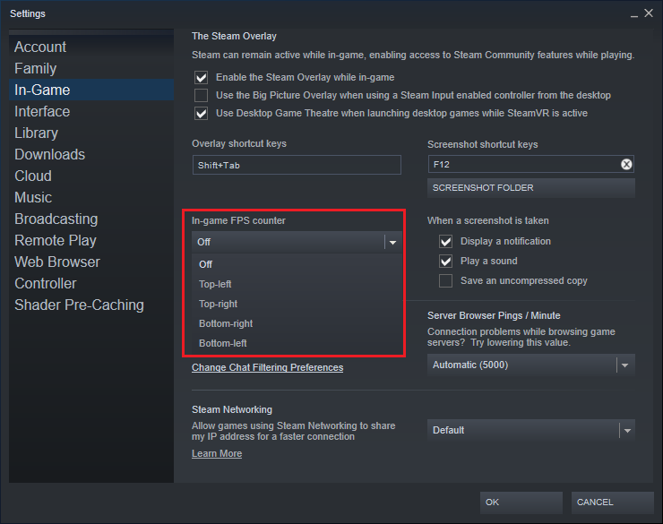 select where you want to display the FPS for your game.