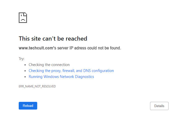 Fix Site Can't Be Reached, Server IP Could Not Be Found