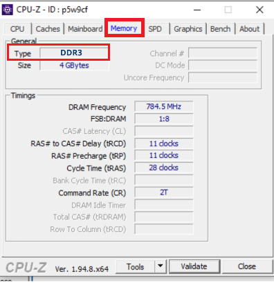 specifications of ram under memory tab in CPUZ Application | Check If Your RAM Type Is DDR3, Or DDR4 in Windows 10