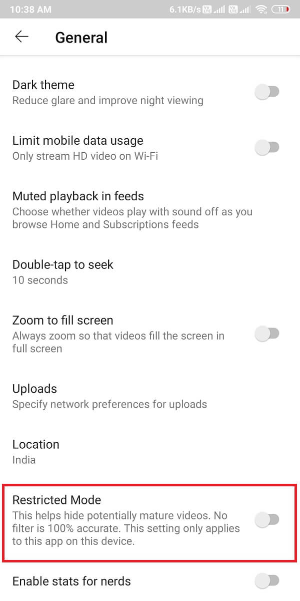 switch on the toggle for the option 'Restricted mode
