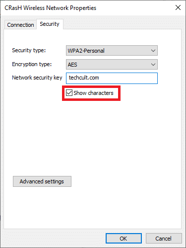switch to the Security tab tick the Show characters box | View Saved WiFi Passwords