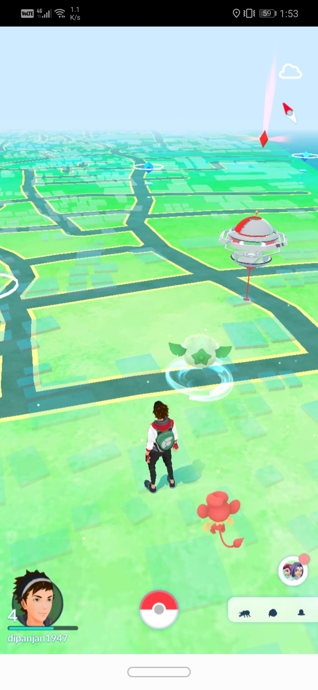 Tap on the Pokéball button at the bottom center of the screen | How To Change Pokémon Go Name After New Update
