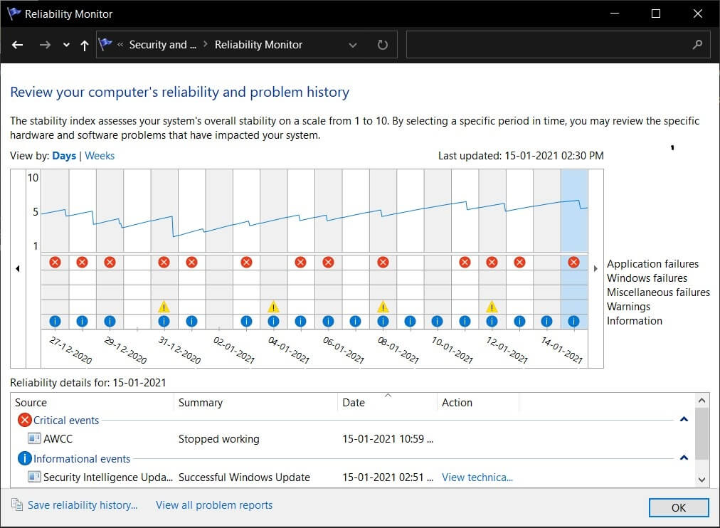 the reliability information is displayed as a graph   Where is the BSOD log file location in Windows 10?