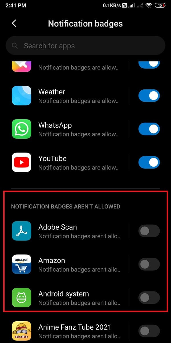 turn off the toggle next to the application for which you do not want app icon badges.