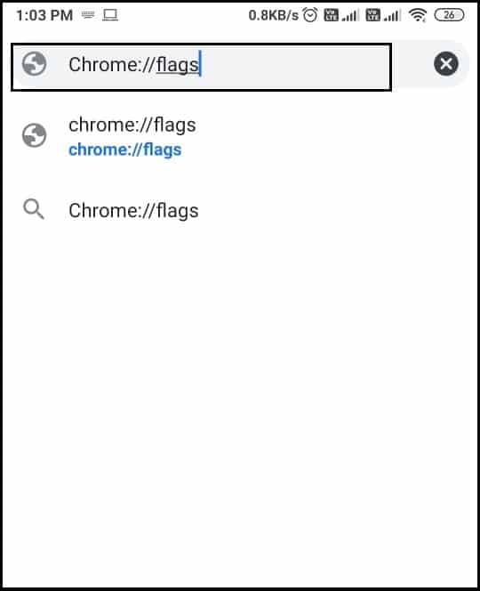 type 'chromeflags' and tap on Enter | How To Move Chrome Address Bar To Bottom