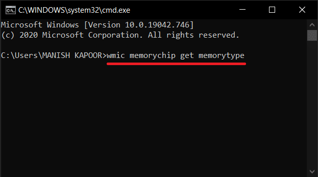 type the command 'wmic memorychip get memorytype' in the command prompt