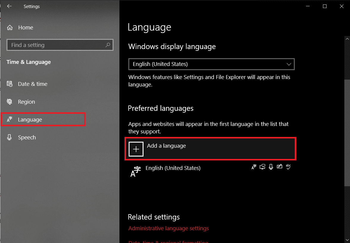 under Preferred languages click on the '+ Add a language' button.