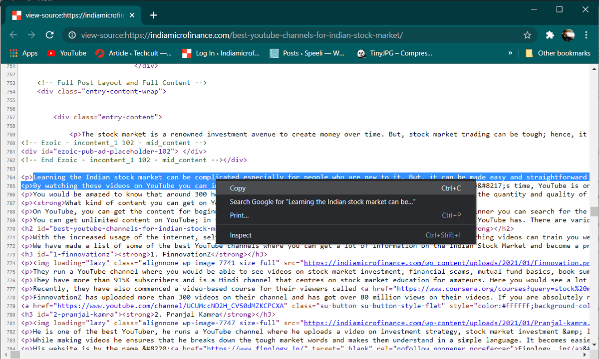view page source