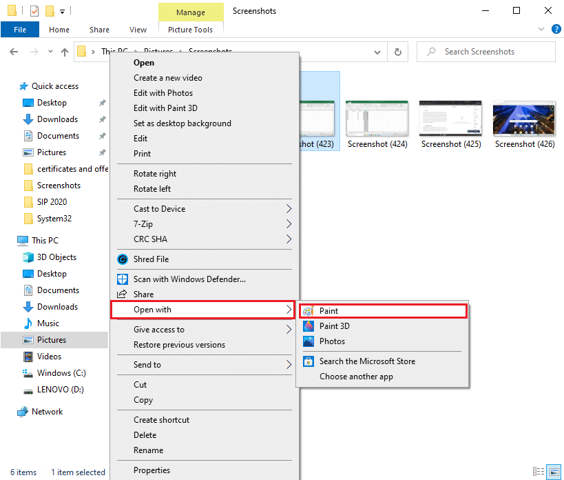 you can right-click on it to open it with the paint app | How To Capture A Screenshot On Lenovo?