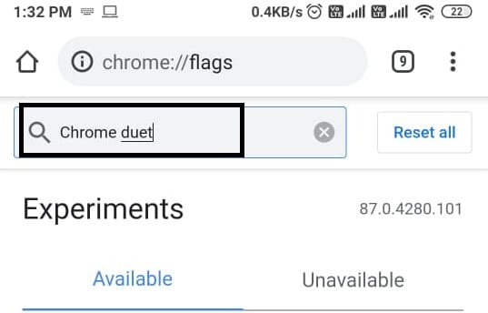 you have to locate the search box on the page to type 'Chrome duet' and press Enter.