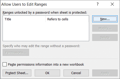 A 'New Range' dialog box appears with Title, Refers to cells, and Range password field.