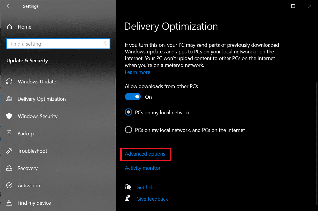 Advanced options under Delivery Optimization