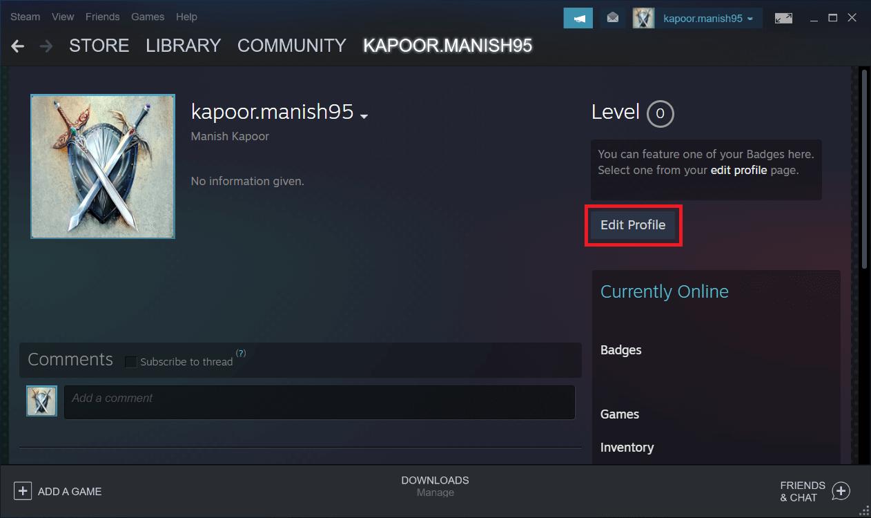Choose the Edit Profile option here.
