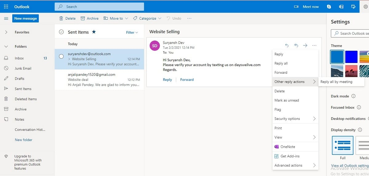 Click on 'Actions' on the Message tab.   How To Recall An Email In Outlook?