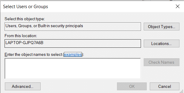 Click on Add button in the window. Enter the name of the users in the 'Enter the object names to select' box