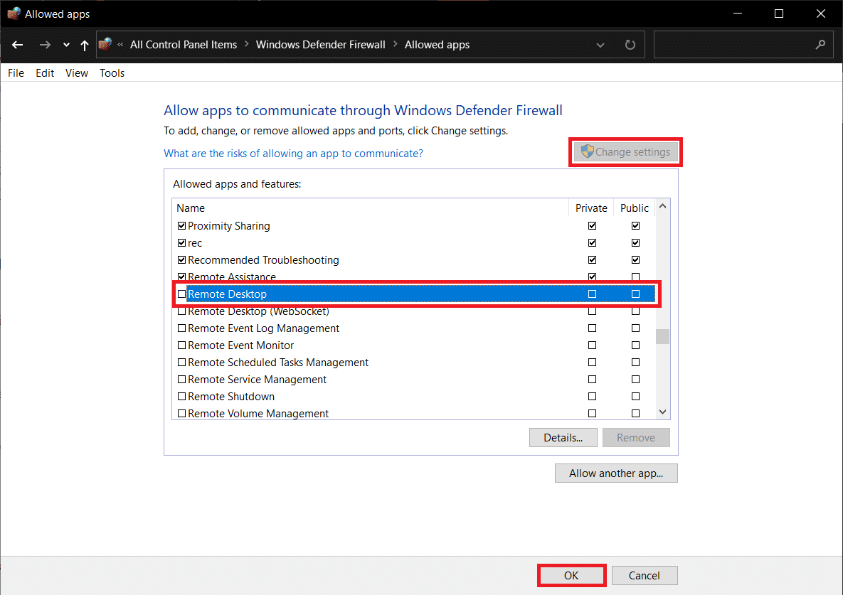 Click on the Change Settings button then check the box next to Remote Desktop