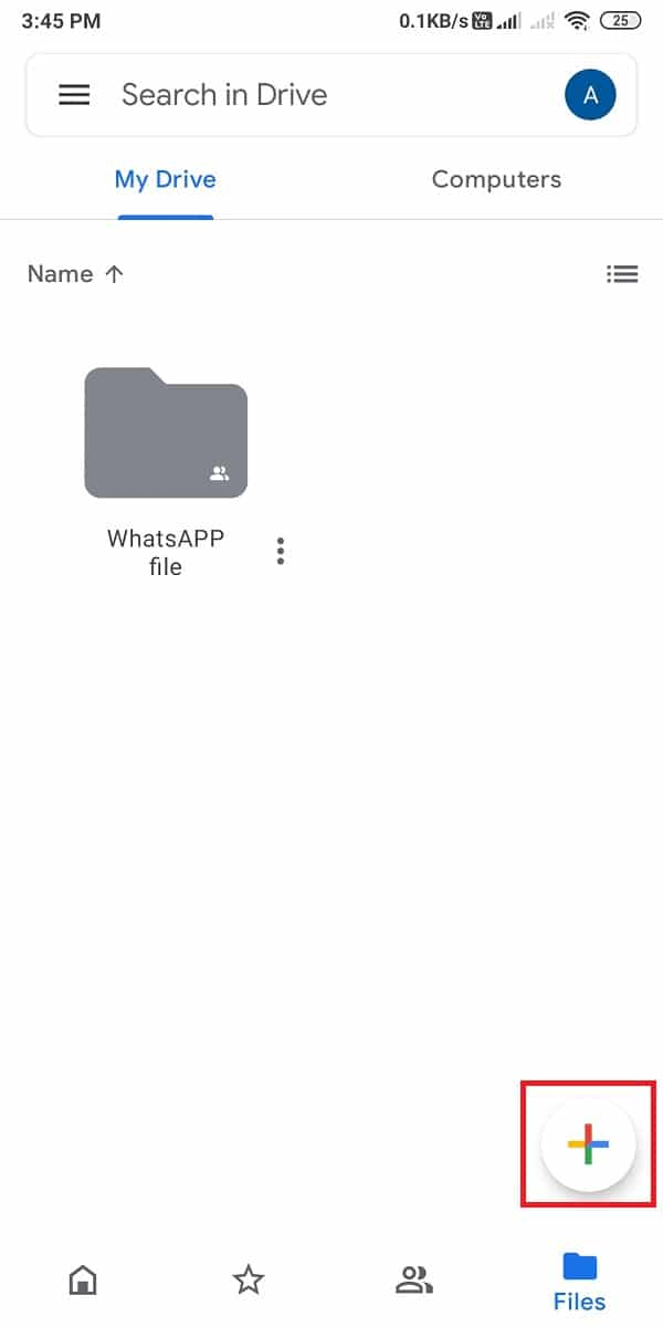 Click on the '+' icon from the bottom.   How To Send Large Video Files On Whatsapp