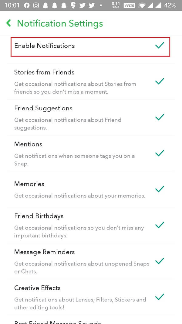 Enable all of them to receive all notifications or only the specific ones that do not seem to work.