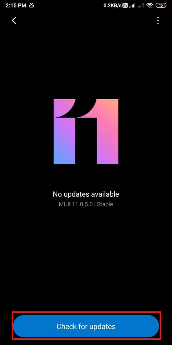 Finally, tap on 'Check for updates' | Fix Instagram Not Posted Yet Try Again Error on Android