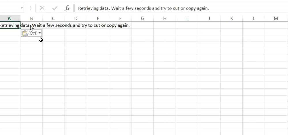 Fix Retrieving Data. Wait A Few Seconds And Try To Cut Or Copy Again Error In Excel