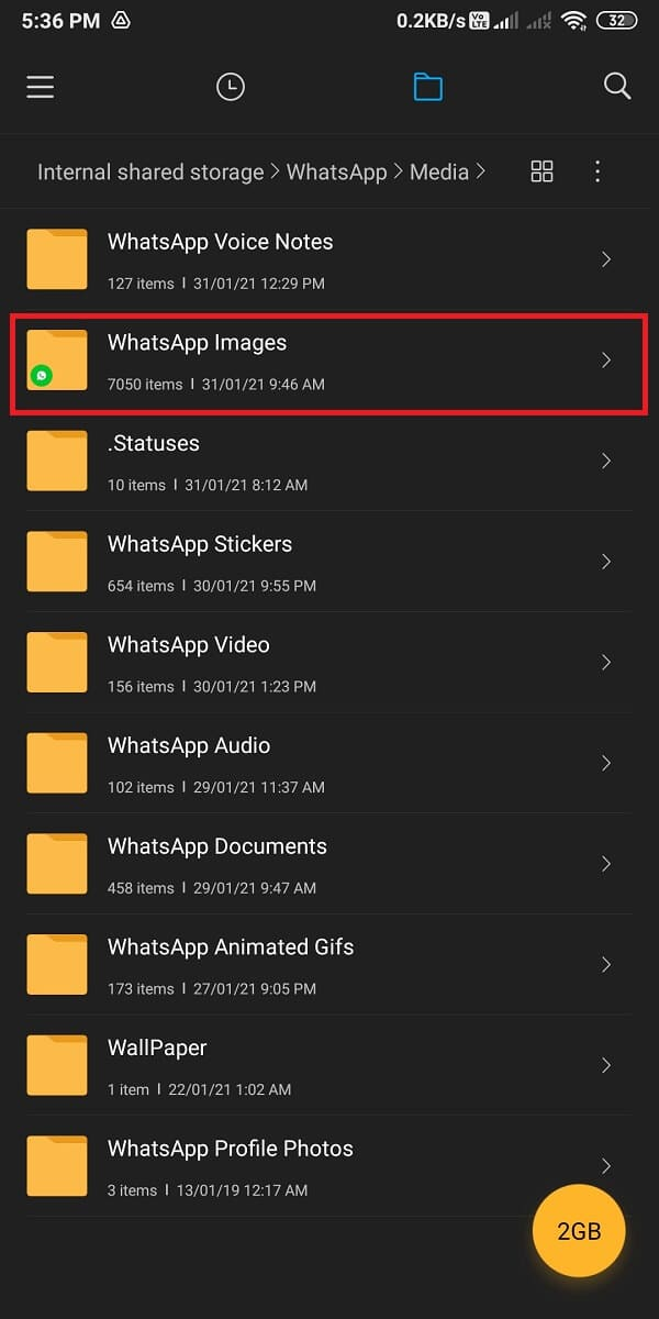 Go to WhatsApp images. | Fix Whatsapp Images Not Showing In Gallery