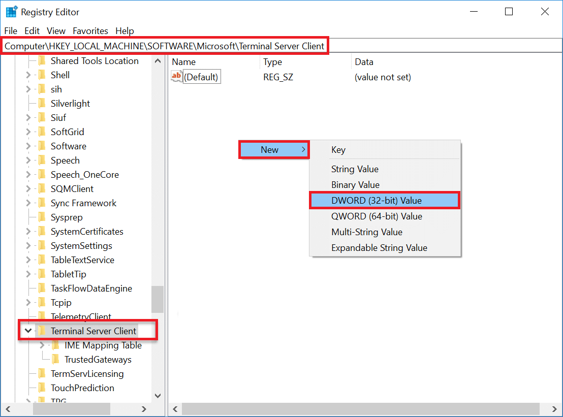 HKEY_CURRENT_USERSoftwareMicrosoftTerminal Server Client | Fix: Remote Desktop Won't Connect in Windows 10