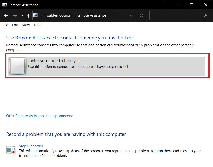 Invite someone to help you | Fix: Remote Desktop Won't Connect in Windows 10