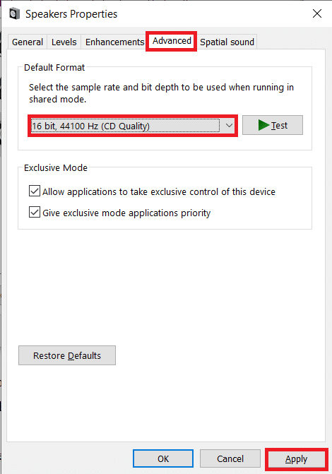 Move to the Advanced tab of the following Properties Window and select 16 bit, 44100 Hz as the Default Format
