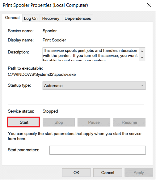 Now go back to the Spooler properties window and click on 'Start.'   How to Clear Print Queue In Windows 10?