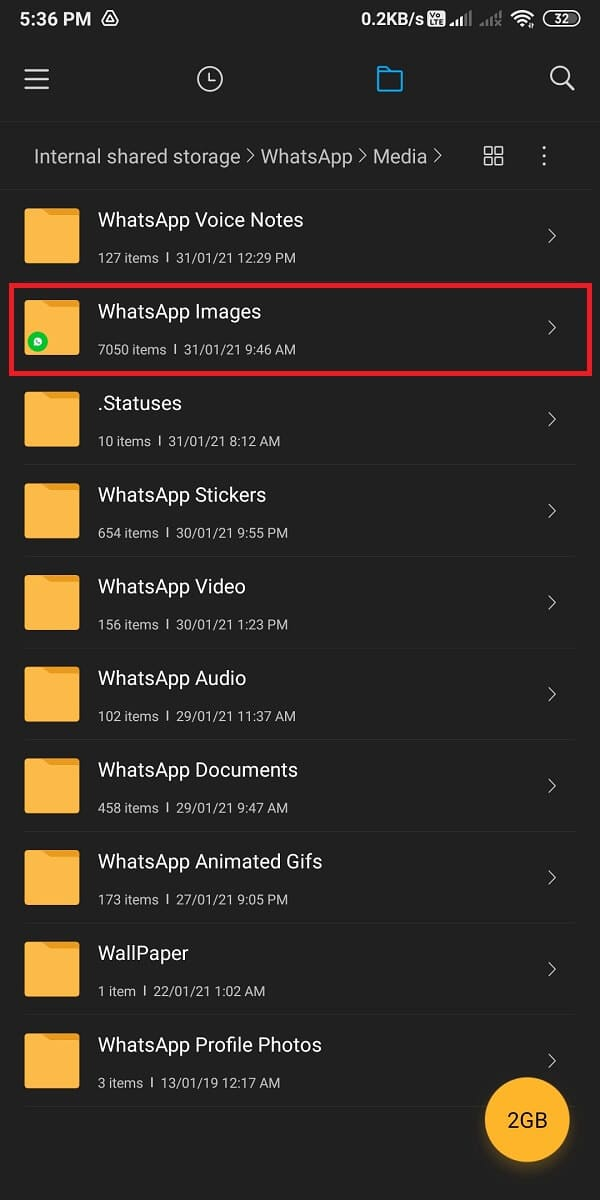 Now, open the WhatsApp images.