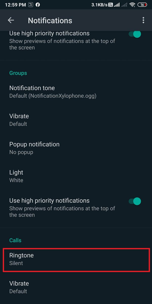 Scroll down and tap on 'Ringtone' and select 'None.'
