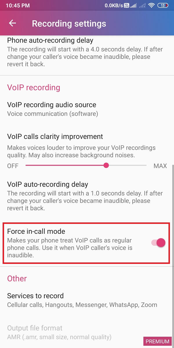 Scroll down and turn the toggle on for 'force-in-call mode.' | How to Record WhatsApp Video and Voice calls
