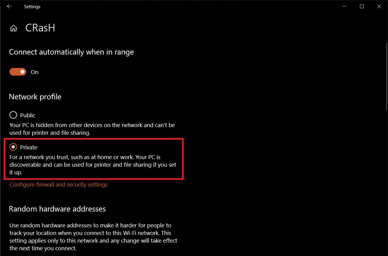 Set the Network Profile as Private. | Fix: Remote Desktop Won't Connect in Windows 10